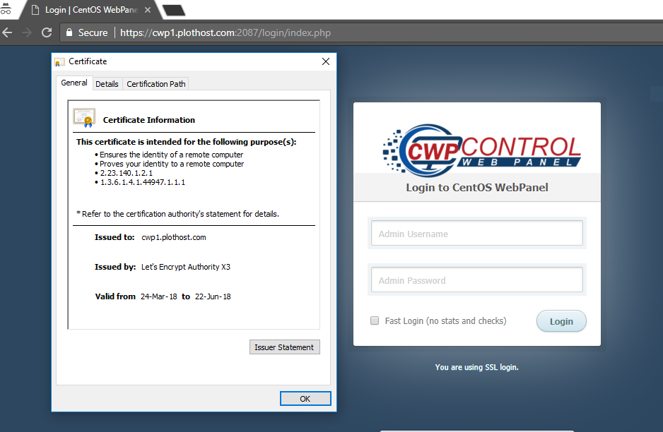 Set up an SSL certificate for hostname on CentOS Web Panel - PlotHost